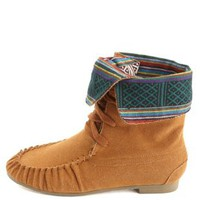 Tribal-Lined Lace-Up Moccasin Boots by Charlotte Russe - Cognac