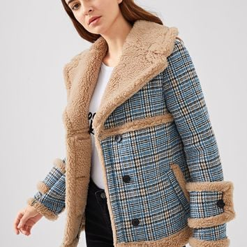 Multicolor Waterfall Collar Contrast Faux Fur Plaid Jacket
