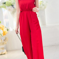 Red Spaghetti Strap High Waist Sleeveless Jumpsuit