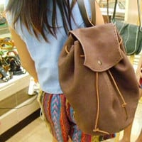 round leather unisex brown leather backpack