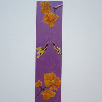 "Handmade unique bookmark ""Law of Attraction in practice"" - Decorated with dried pressed flowers and herbs - Original art collage."