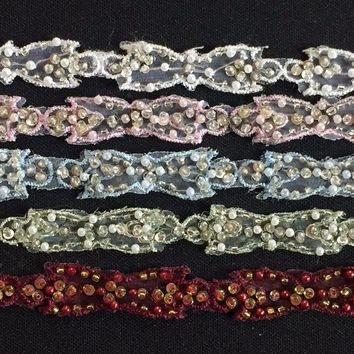 "2 yards, Gorgeous embroidered trim, beaded by hand and sequins on organza, 1/2"" use for sewing, dresses, art and craft, customs, theatre"