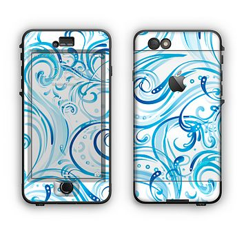 The Wild Blue Swirly Vector Water Pattern Apple iPhone 6 Plus LifeProof Nuud Case Skin Set