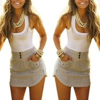 Sexy Women Summer Patchwork Sleeveless Pockets Bodycon Vest Party Dress Free Shipping