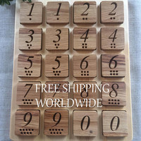Montessori inspired Natural Wood Toy, Montessori Inspired Memory Game, MATCH ME Game, Number Themed, Eco Friendly Memory Game