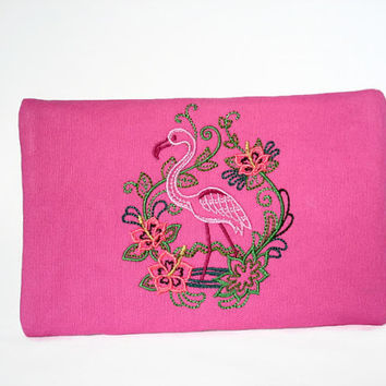 Pink Clutch Wallet With Embroidered Flamingo Design Pink Zipper Wallet Flamingo Zip Wallet Flamingo Clutch IPhone Wallet