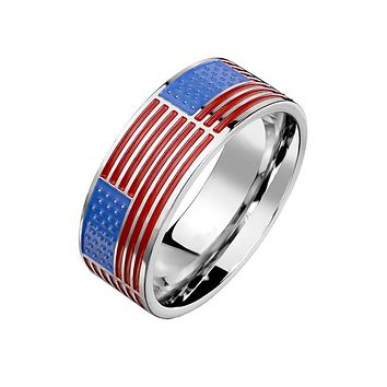 Stars And Stripes - Men's Stainless Steel American Flag Enamel Ring