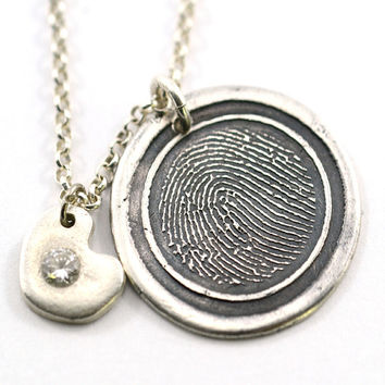 Personalized Engraved Fingerprint Pendant Custom Made In Fine Silver, Thumbprint Jewelry, OOAK Pendant, Memory Jewelry, Mothers Day Gift