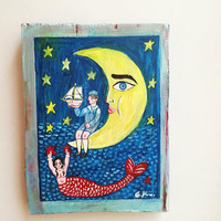 Yellow moon painting, half moon, child and mermaid folf art painting on salvaged wood, vintage folk painting, Greek folk art, art naif