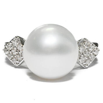 Graceful Large Cultured Pearl and Diamond Ring by BellmansOnlineStore