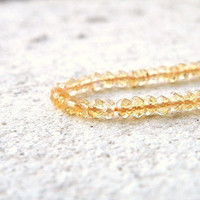 Citrine Rondelle Gemstone Golden Yellow Solar Power Faceted 3.5mm 1/2 Strand Wholesale