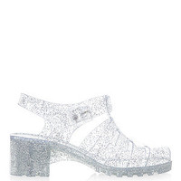 Silver Clear Block Heel Jelly Sandals