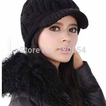 Free shipping,1pcs,Korean version of women's knitted caps,winter warm hats,pure color stripe,beige black coffee