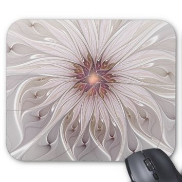 Floral Fantasy, Abstract Modern Pastel Flower Mouse Pad