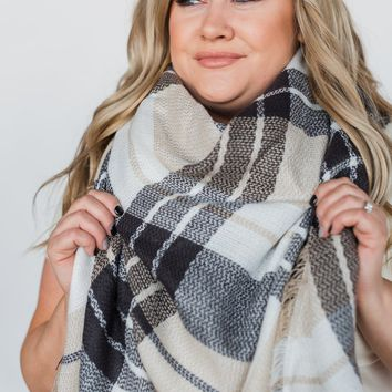 Blanket Scarf- Oatmeal, Gray, White