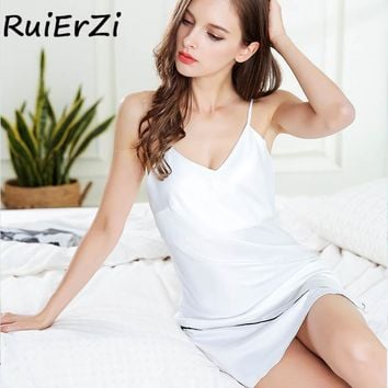 2018 Sexy Summer Nightwear Women V-Neck Trim Drawstring Chemise Nightgown Backless Sleepwear Nightdress Solid Color Mini Dress