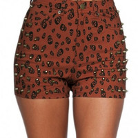 Studded Skull Shorts - Rust