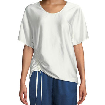 T by Alexander Wang Asymmetric Drape Short-Sleeve Top