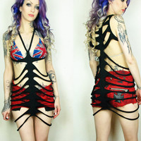 Open ribcage spine dress rave rock goth by HeavenlyInferno on Etsy