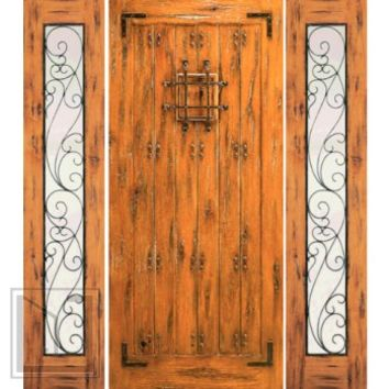 Prehung Door with Two Sidelites, Front, Knotty Alder with Speakeasy
