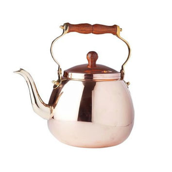 4 Qt Solid Copper Tea Kettle with Wood Handle
