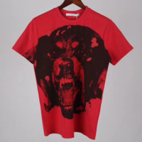 Givenchy New fashion short-sleeved T-shirt red big dog print head loose couple T-shirt Red