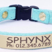Cat Collar: Suede with Breakaway Buckle - Lt. Aqua
