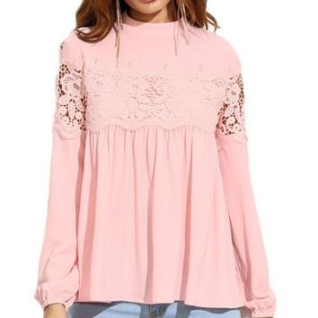 Pink Mock Neck Lace Applique Babydoll Top Women Long Sleeve Shirt Fall Loose Keyhole Blouse