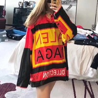 """Balenciaga"" Women Loose Fashion Personality Multicolor Letter Lapel Long Sleeve T-shirt  Tops"