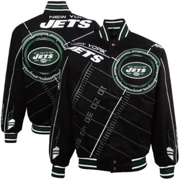 New York Jets Black On Point Midweight Twill Full Button Jacket