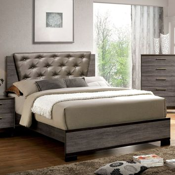 Jurado Contemporary Leatherette Cal-King Bed in Antique Grey