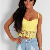 Lemon Drizzle Yellow Lace Bralet Crop Top | Pink Boutique