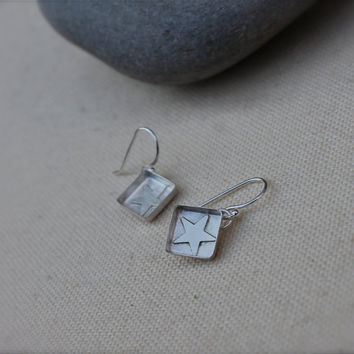 Star Box Sterling Silver Small Dangle Earrings by KittyStoykovich