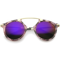High Fashion Arched Marble Color Frame Color Mirror Pantos Aviator Sunglasses 48mm