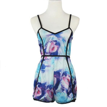 Summer Romper Printed Floral Backless Playsuits Women Sexy One Piece Outfits Rompers Womens Jumpsuit 2017#212 SM6