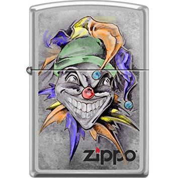 Zippo Custom Design Joker Reg Satin Chrome Windproof Collectible Lighter. Made in USA Limited Edition & Rare
