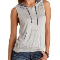 Tribal Drawstring Sleeveless Hoodie - Lt Gray Combo