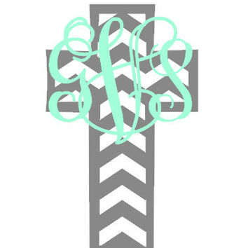 Monogrammed Chevron Cross Decal - Cross Vinyl Decal