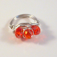 FUCHSIA DELIGHT - Wire Wrapped Natural Silver Aluminum Ring with 3 Fuchsia Crystals.
