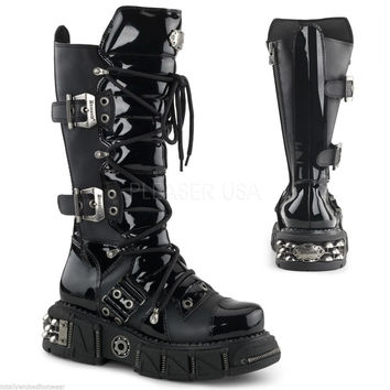 DMA 3006 Black  Lace Up Shin Guard Goth Punk Biker Boots 7-13
