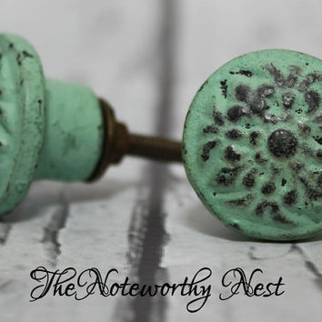 Knobs // Decorative knobs // drawer pulls // dresser knob // cabinet knob // dresser knobs // unique knobs // aqua knobs