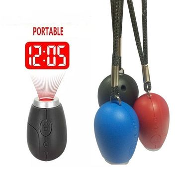 Fashion Mini Projection Clock Lamp Keyrings Red Light Keychains Pom Gift