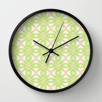 Peach And Green Abstract Print  Wall Clock by KCavender Designs