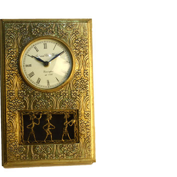 Aakashi Hand-Carved Brass Rectangle Wall Clock
