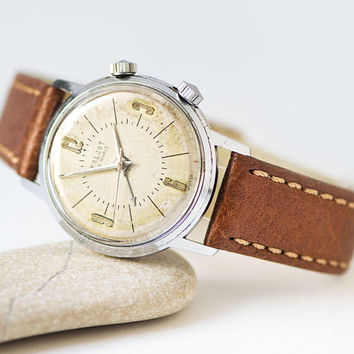Alarm function watch Poljot for men, rare men watch Soviet vintage, beige face watch minimalist, boyfriend watch, new premium leather strap