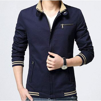 Mens Stand Collar Zipper Jacket in Navy