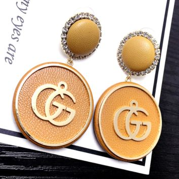 GUCCI Fashion  New Letter Leather Diamond Round Long Earring Women Yellow
