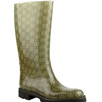 Gucci Women's Guccissima Pattern Light Brown Rubber Rain Boots 248516 8367