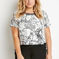 Varsity-Striped Face Print Top