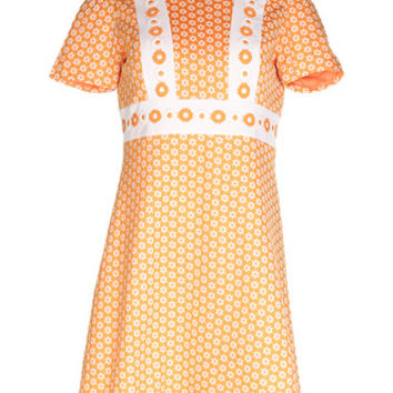 60s Orange Mini Dress with Flower Detail - M | Womens | Rokit Vintage Clothing